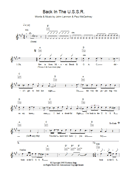 Back In The U.S.S.R. (Lead Sheet / Fake Book)