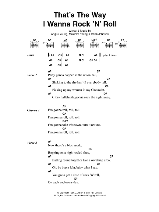 That\'s The Way I Wanna Rock \'n\' Roll by AC/DC - Guitar Chords/Lyrics ...