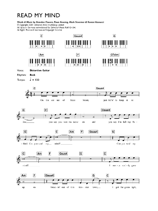 Read My Mind Sheet Music | The Killers | Keyboard