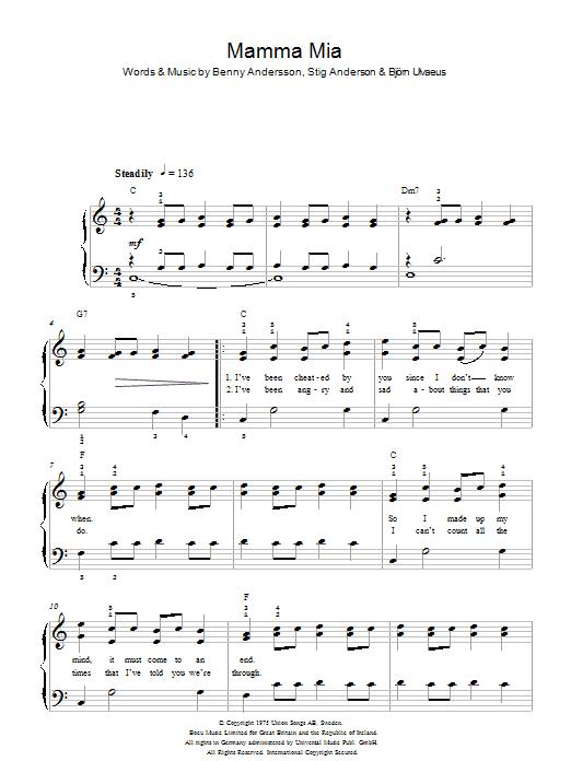 Mamma Mia Sheet Music Free
