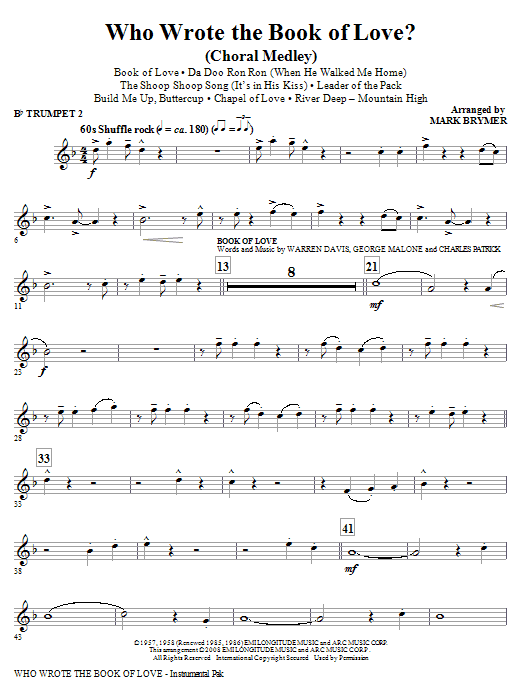 Who Wrote The Book Of Love? (Choral Medley) - Trumpet 2 (Choir Instrumental Pak)