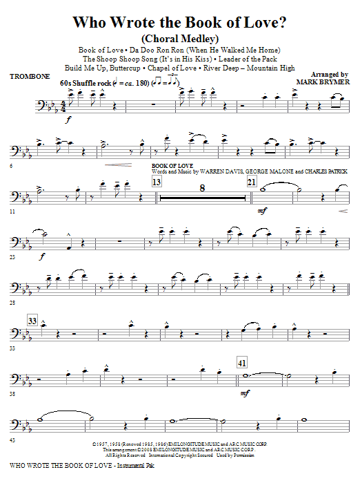 Who Wrote The Book Of Love? (Choral Medley) - Trombone (Choir Instrumental Pak)