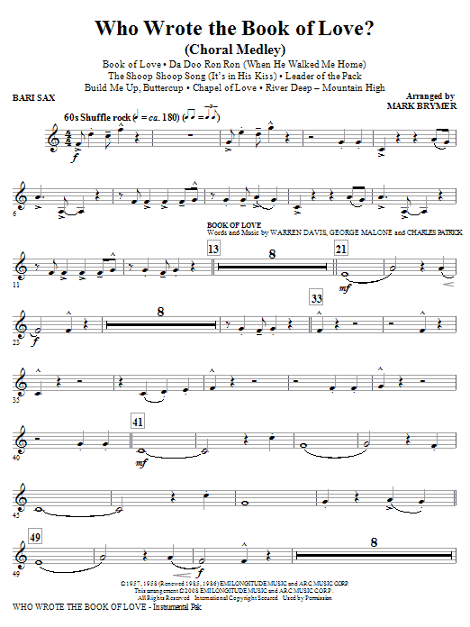 Who Wrote The Book Of Love? (Choral Medley) - Baritone Sax (Choir Instrumental Pak)