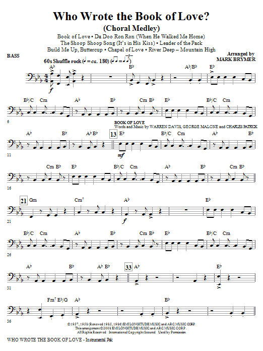 Who Wrote The Book Of Love? (Choral Medley) - Bass (Choir Instrumental Pak)
