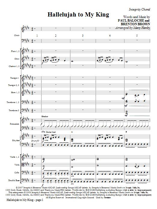 Hallelujah To My King - Full Score Sheet Music