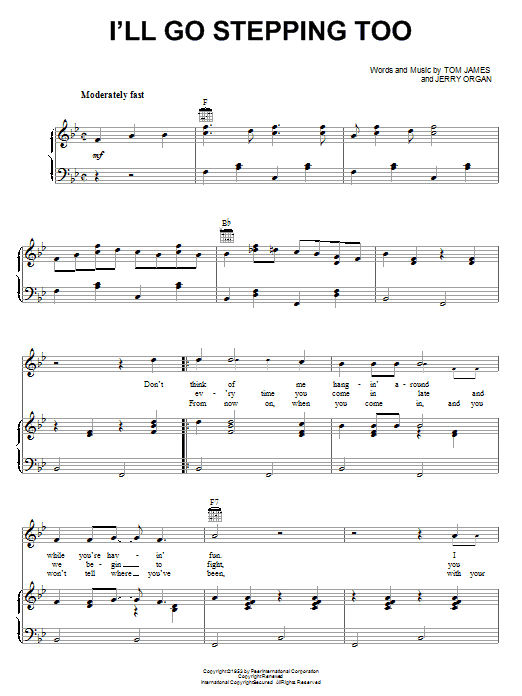 I'll Go Stepping Too (Piano, Vocal & Guitar (Right-Hand Melody))