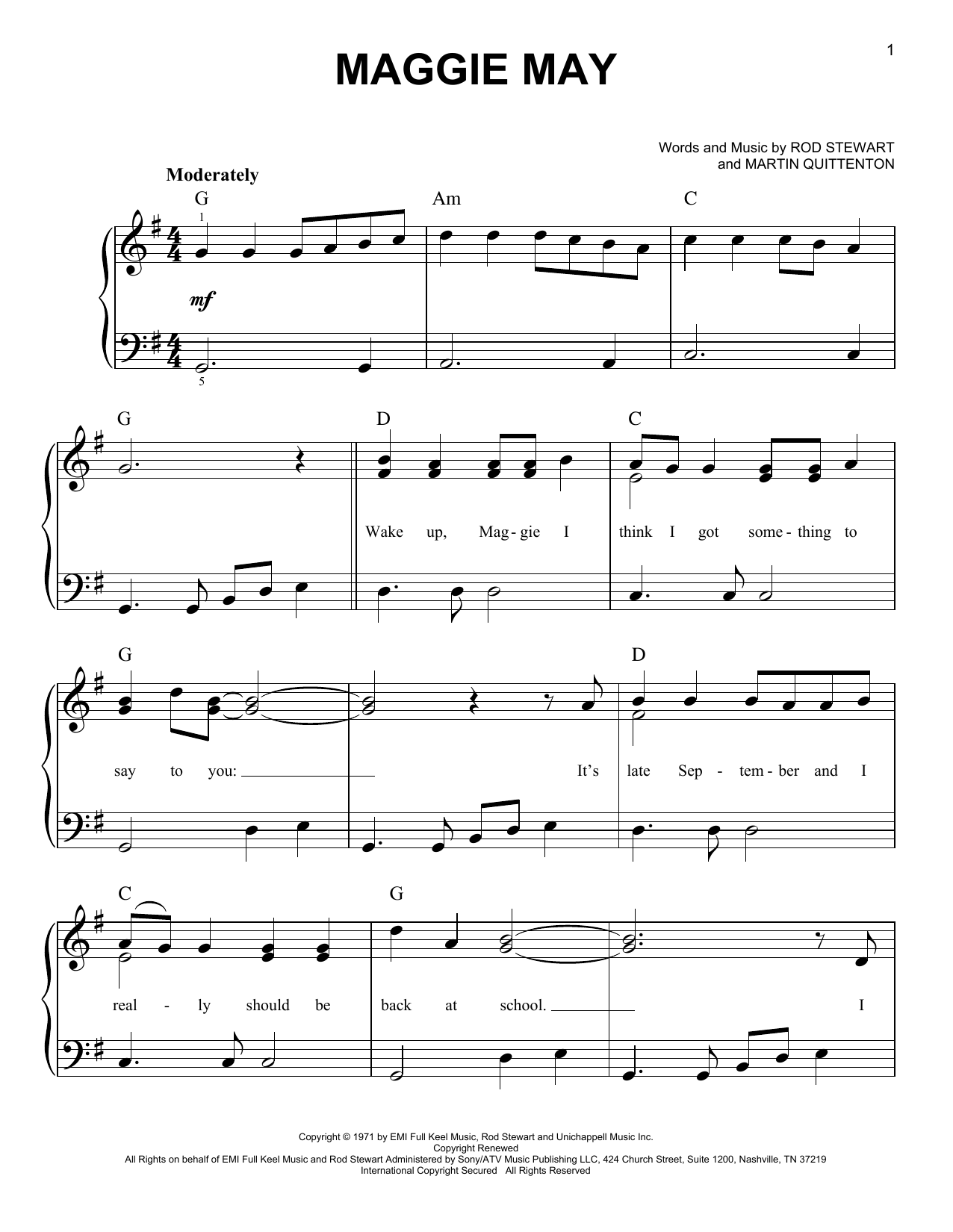 Mandolin mandolin tabs maggie may : Maggie May sheet music by Rod Stewart (Easy Piano – 66868)