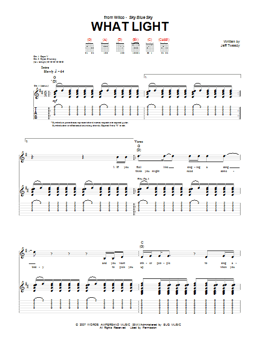 What Light (Guitar Tab)