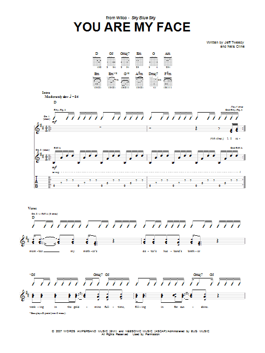 You Are My Face (Guitar Tab)