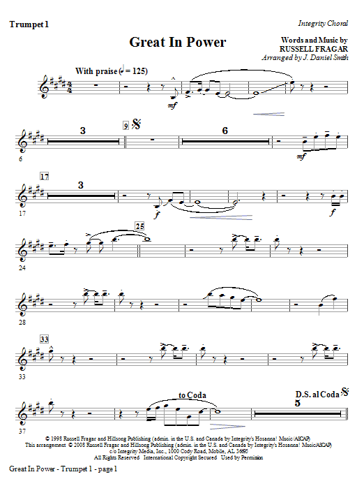Great In Power - Trumpet 1 Sheet Music