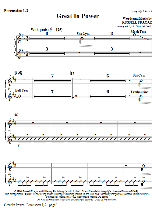 Great In Power - Percussion 1 & 2 Sheet Music