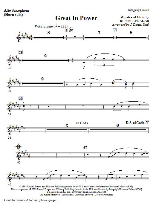 Great In Power - Alto Sax (Horn sub) Sheet Music