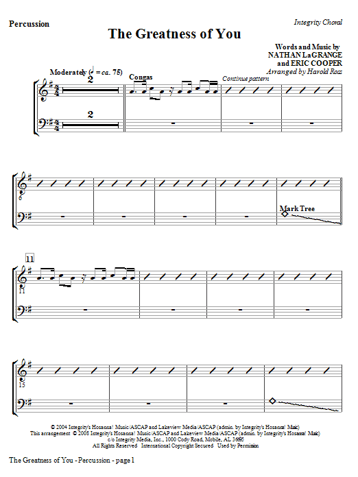 The Greatness Of You - Percussion Sheet Music