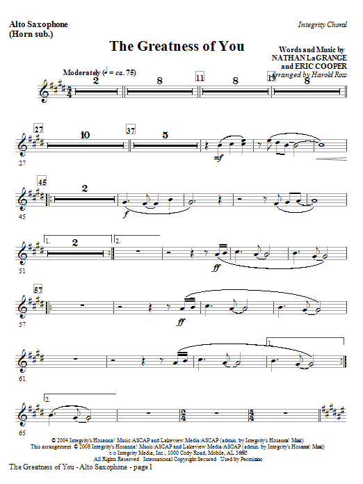The Greatness Of You - Alto Sax (Horn sub) Sheet Music