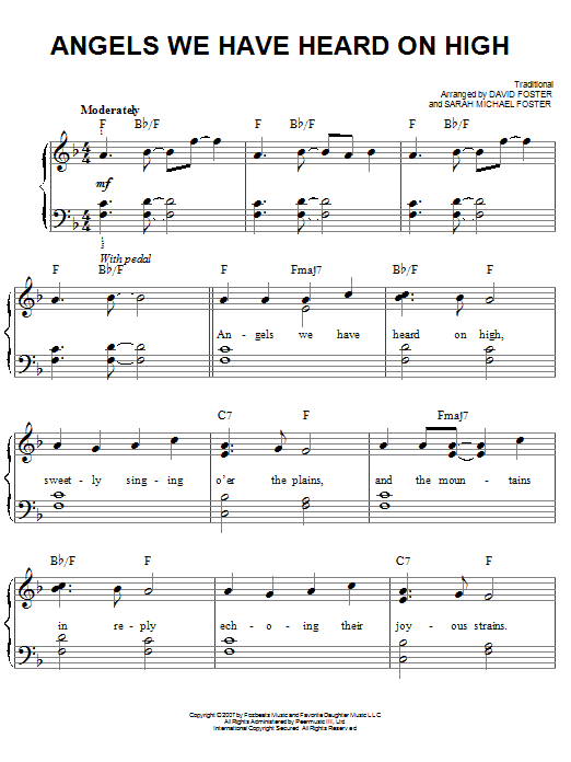 Angels We Have Heard On High (Easy Piano)
