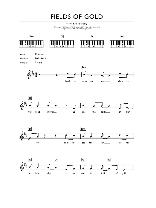 Fields Of Gold (Piano Chords/Lyrics)