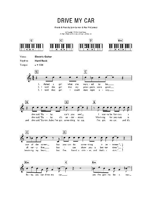 Drive My Car (Piano Chords/Lyrics)