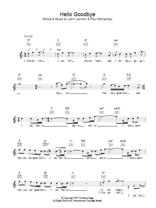 Hello Goodbye Sheet Music The Beatles Melody Line Lyrics Chords