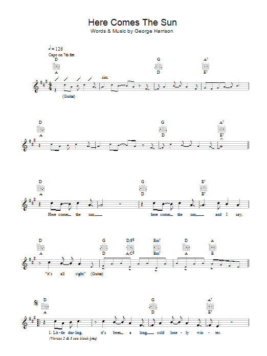 Ukulele u00bb Ukulele Chords Here Comes The Sun - Music Sheets, Tablature, Chords and Lyrics