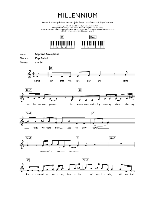 Millennium (Piano Chords/Lyrics)