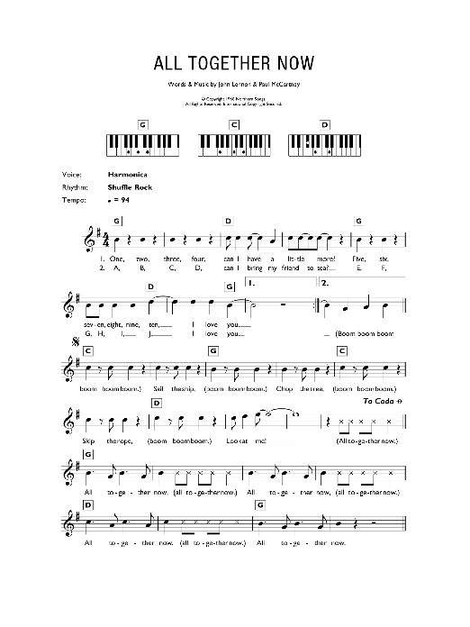 All Together Now Sheet Music