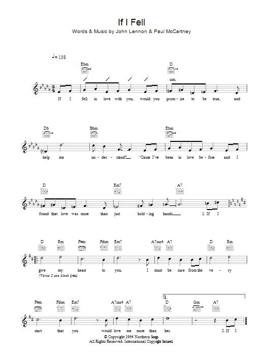 If I Fell Sheet Music | The Beatles | Melody Line, Lyrics & Chords