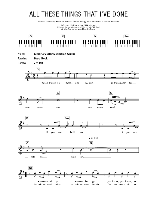 All These Things That I've Done Sheet Music