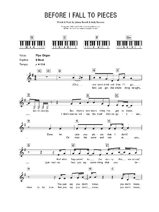 Before I Fall To Pieces (Piano Chords/Lyrics)