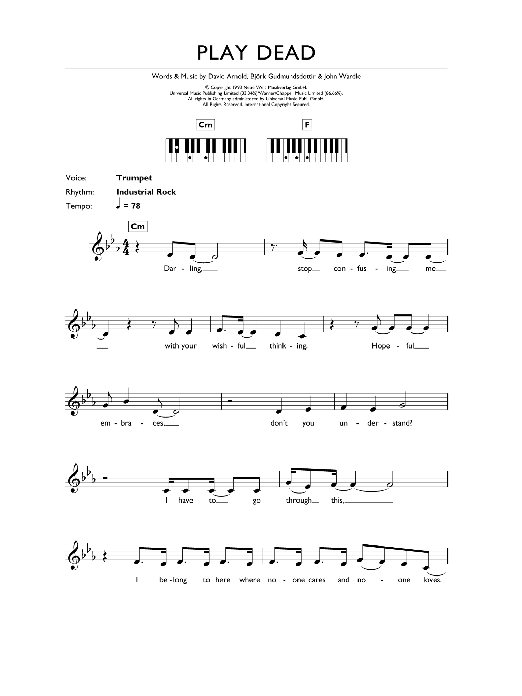 Play Dead (Piano Chords/Lyrics)