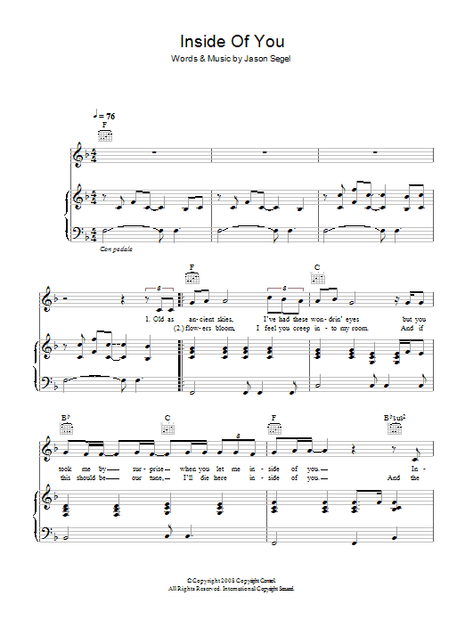 Inside Of You (from 'Forgetting Sarah Marshall') (Piano, Vocal & Guitar)