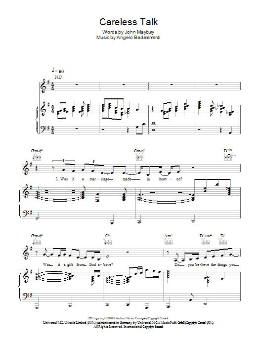 Careless Talk (Piano, Vocal & Guitar)