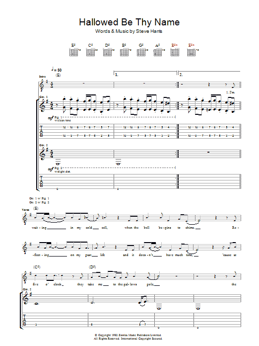 Hallowed Be Thy Name (Guitar Tab)