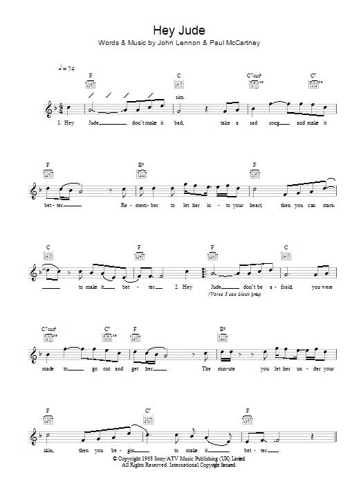 Hey Jude Sheet Music The Beatles Melody Line Lyrics Chords