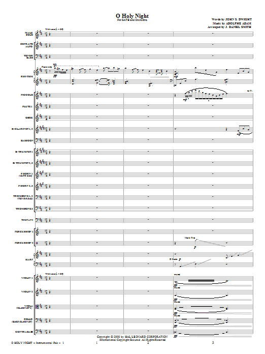 O Holy Night (COMPLETE) sheet music for orchestra/band (Orchestra) by J. Daniel Smith and Adolphe Adam. Score Image Preview.