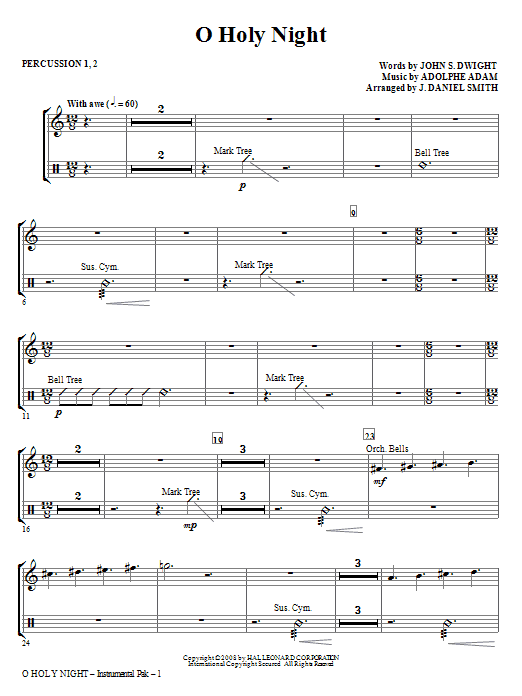 O Holy Night - Percussion 1 & 2 Sheet Music