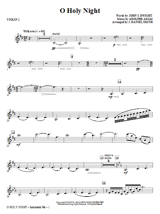 O Holy Night - Violin 2 | Sheet Music Direct