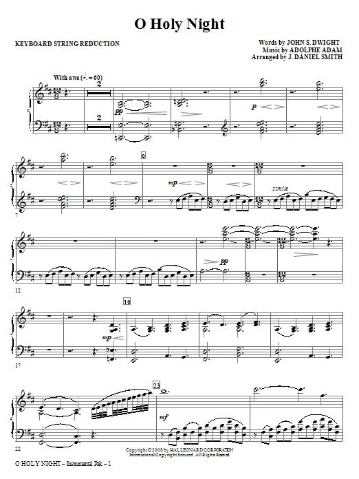 O Holy Night - Keyboard String Reduction Sheet Music