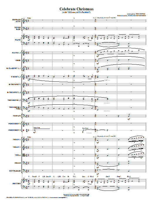 Celebrate Christmas (with O Come, All Ye Faithful) (COMPLETE) sheet music for orchestra/band (Orchestra) by Tom Fettke and Miscellaneous. Score Image Preview.