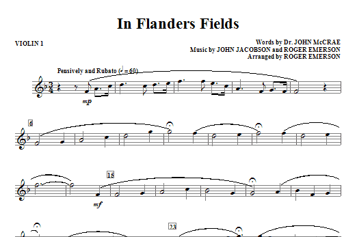 In Flanders Fields (complete set of parts) sheet music for orchestra/band (Strings) by Roger Emerson and John Jacobson. Score Image Preview.
