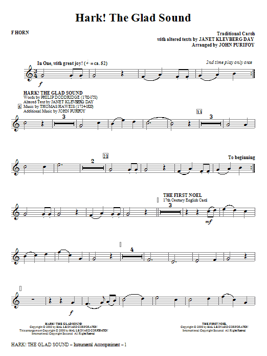 Hark! The Glad Sound (Medley) (complete set of parts) sheet music for orchestra/band (Brass) by John Purifoy. Score Image Preview.