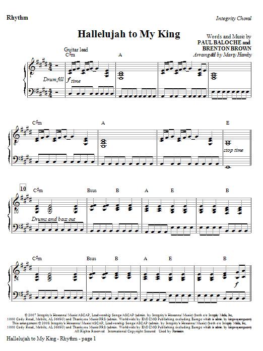 Hallelujah To My King - Rhythm Sheet Music