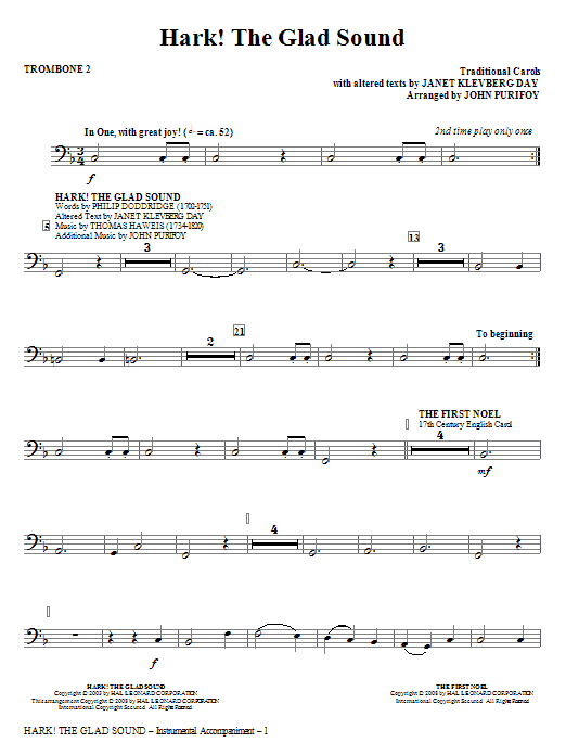 Hark! The Glad Sound (Medley) - Trombone 2 (Choir Instrumental Pak)