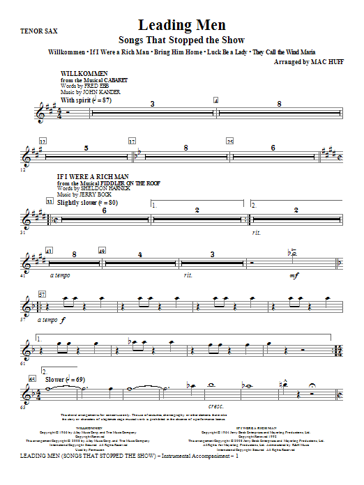 Leading Men: Songs That Stopped The Show (Medley) - Tenor Sax Sheet Music