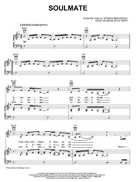 Partition piano Soulmate de Natasha Bedingfield - Piano Voix Guitare (Mélodie Main Droite)