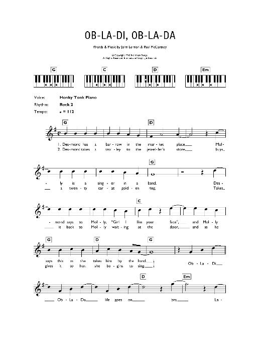 Ob La Di Ob La Da Sheet Music The Beatles Keyboard