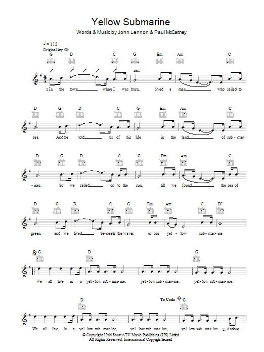 Yellow Submarine | The Beatles | Melody Line, Lyrics & Chords