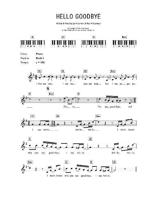 Hello, Goodbye (Piano Chords/Lyrics)