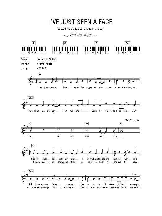 I\'ve Just Seen A Face Sheet Music | The Beatles | Keyboard