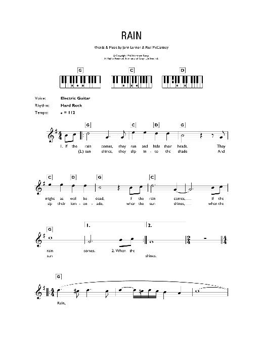 Rain (Piano Chords/Lyrics)