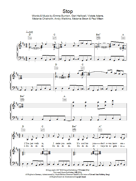 Stop (Piano, Vocal & Guitar)